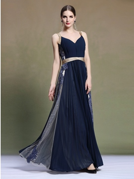 Ericdress Straps A-Line Appliques Long Evening Dress