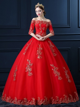Ericdress Ball Gown Off-The-Shoulder Floor-Length Appliques Hall Wedding Dress