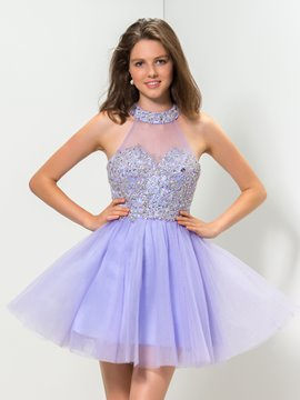 Ericdress Halter A-Line Appliques Beaded Homecoming Dress