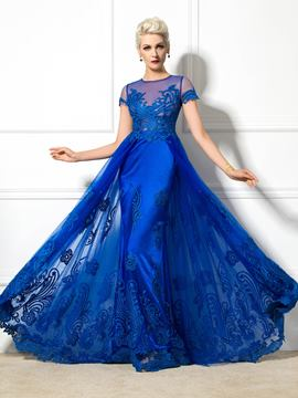 Ericdress Short Sleeves A-Line Appliques Long Evening Dress