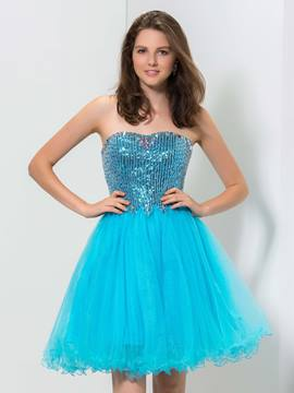 Ericdress A-Line Strapless Sequins Short Homecoming Dress