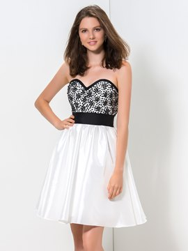 Ericdress A-Line Sweetheart Beaded Zipper-Up Short Homecoming Dress