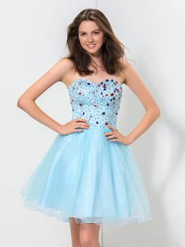 Ericdress Sweetheart perles robe a-line Homecoming volants