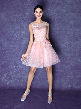 Eriddress Scoop Neck A-Line Appliques Beaded Homecoming Dress