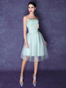 Ericdress A-Line Strapless Flower Homecoming Dress