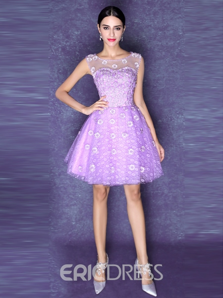 Ericdress A-Line Round Neck Flowers Lace-Up Homecoming Dress