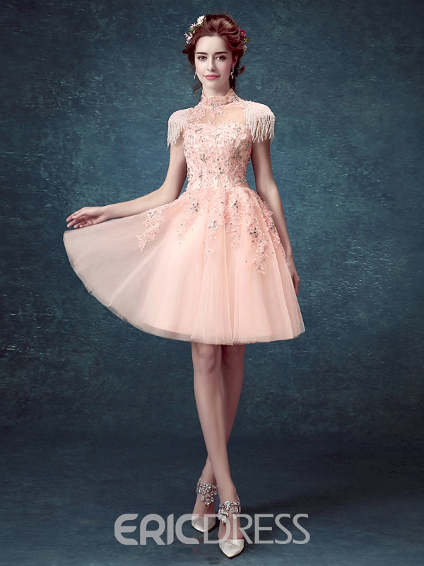 Ericdress Scoop Neck A-Line Appliques Beaded Homecoming Dress