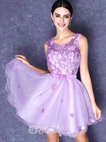 Ericdress Round Neck A-Line Flowers Beadings Homecoming Dress