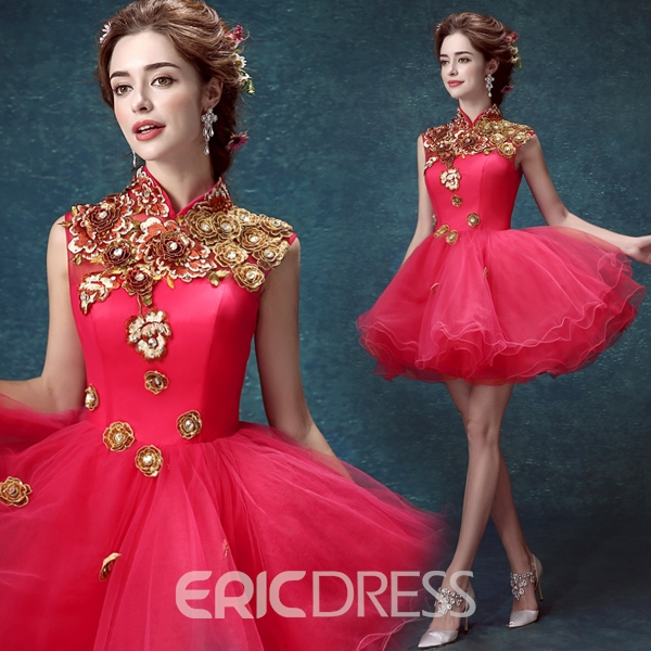 Ericdress High Neck A-Line Appliques Homecoming Dress