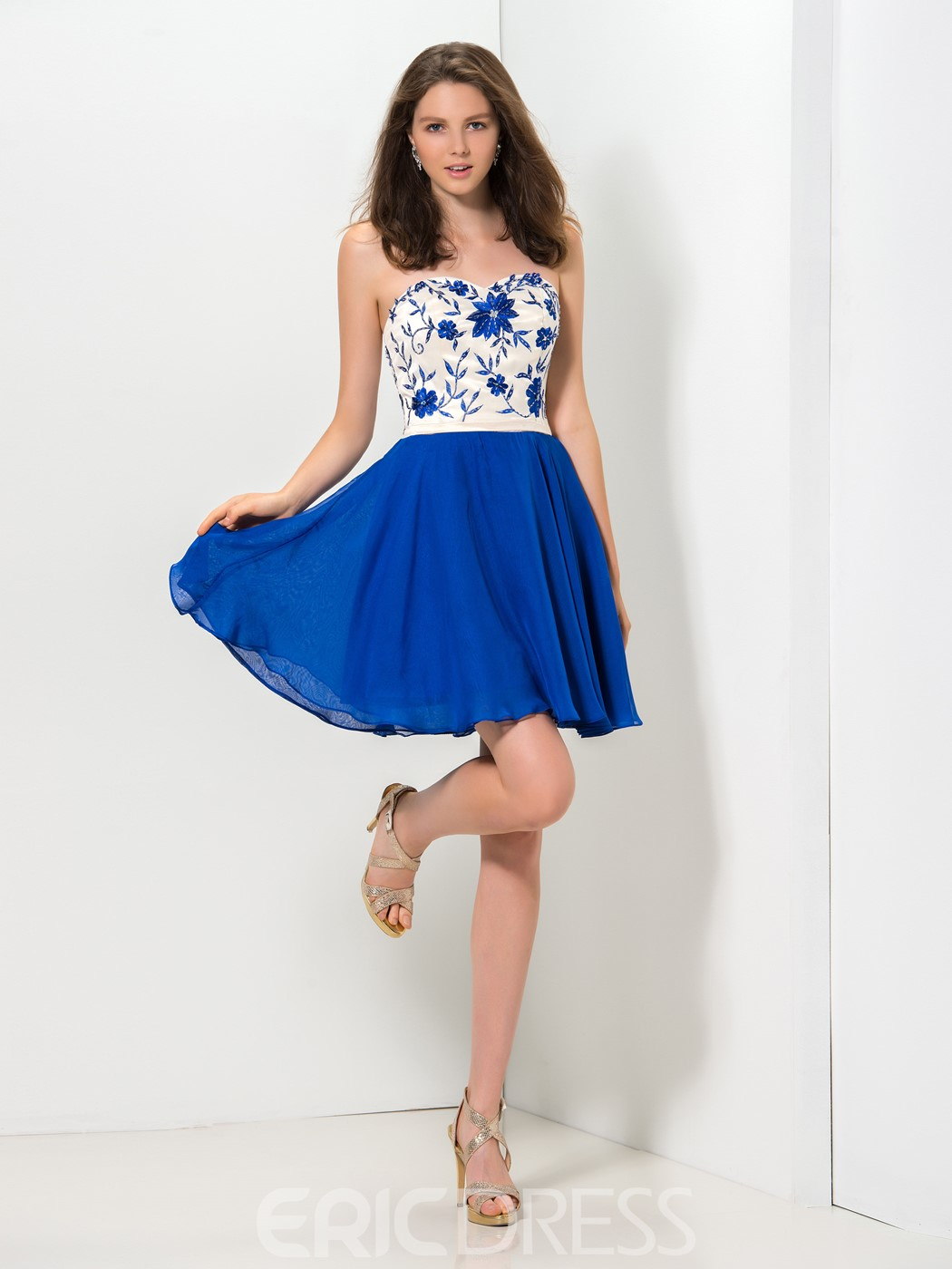 Ericdress A-Line Sweetheart Embroidery Short Homecoming Dress