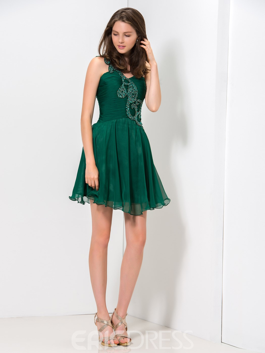 Ericdress One-Shoulder Ruffles Appliques Short Homecoming Dress