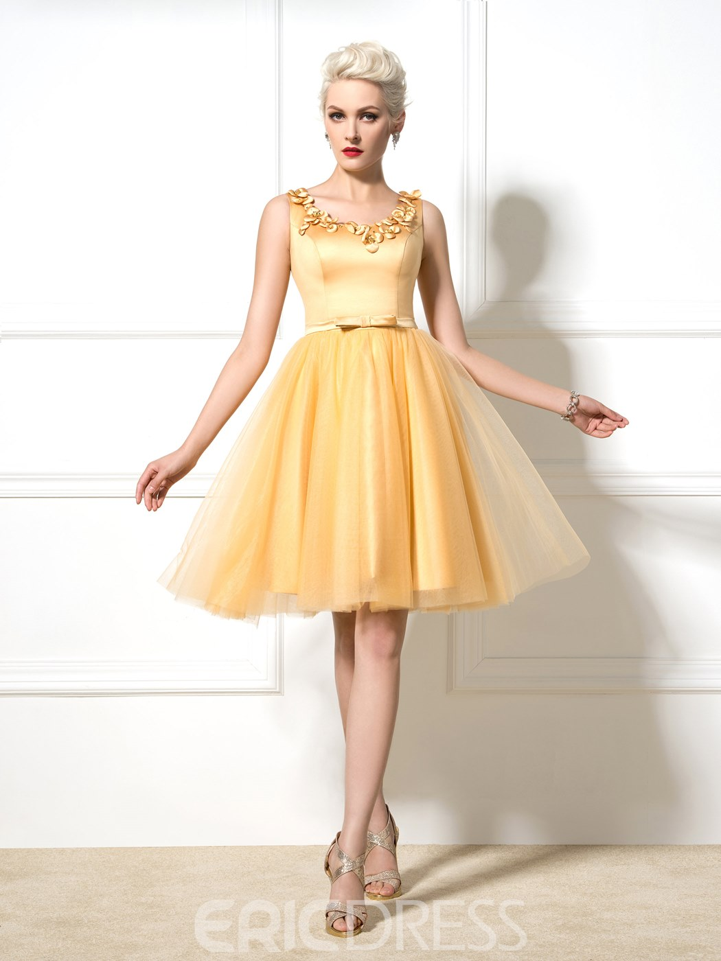 Ericdress A-Line Short Appliques Bowknot Cocktail Dress