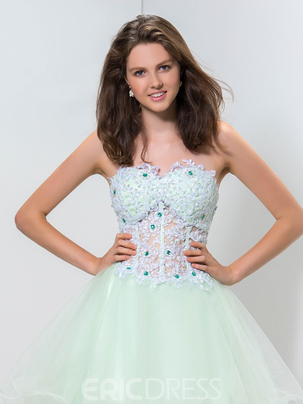 Ericdress Sweetheart Appliqes Beaded Homecoming Dress