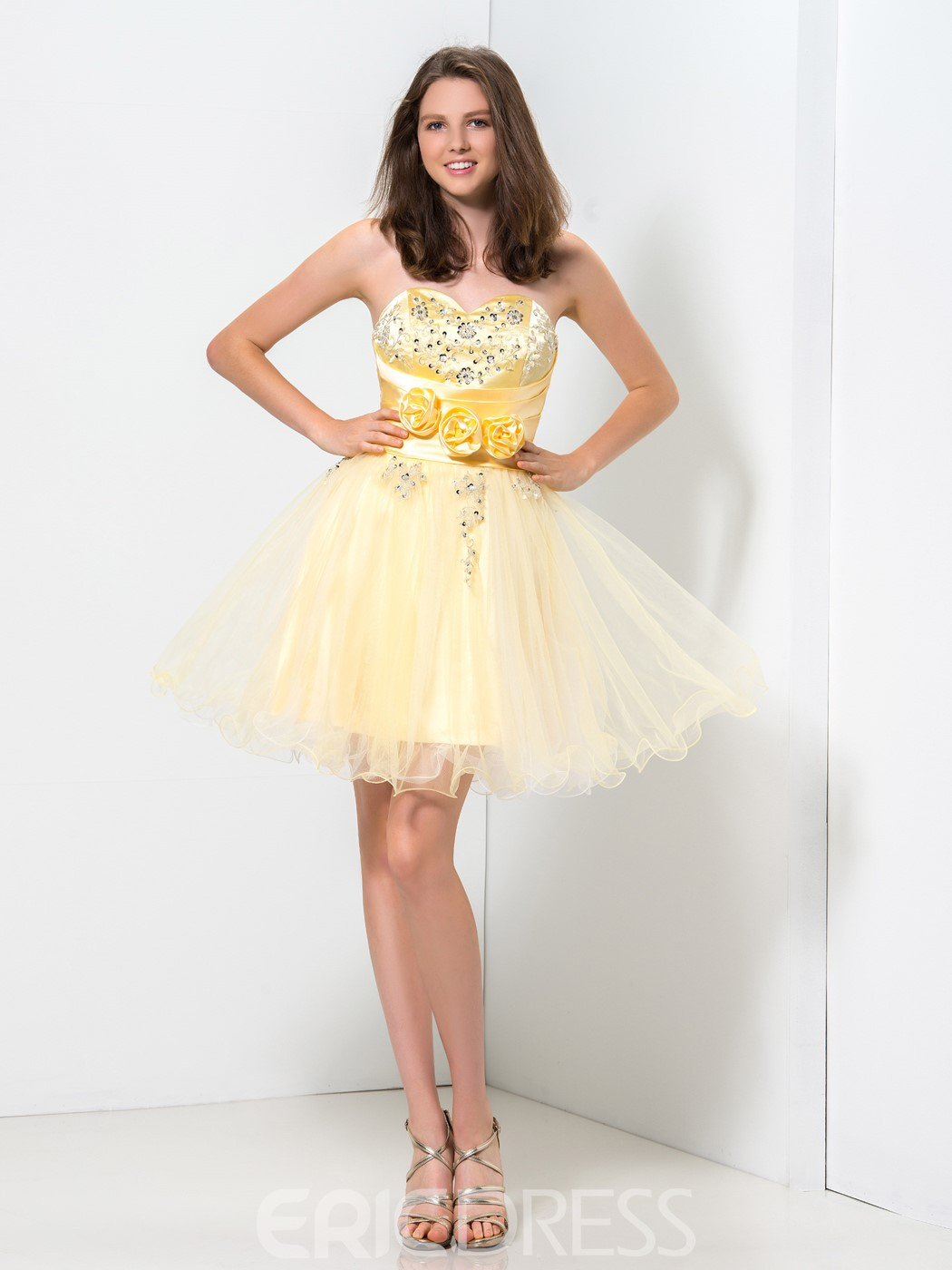 Ericdress Sweetheart Ruffles Handmade Flowers Homecoming Dress