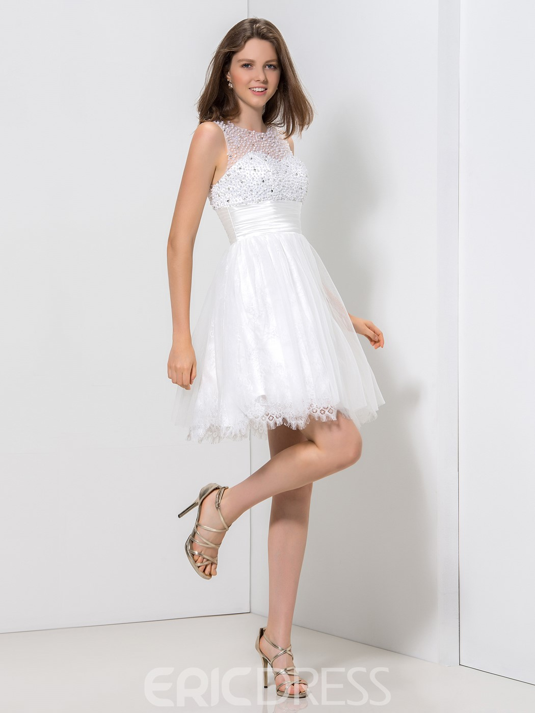Ericdress A-Line Jewel Neck Pleats Sequins Homecoming Dress
