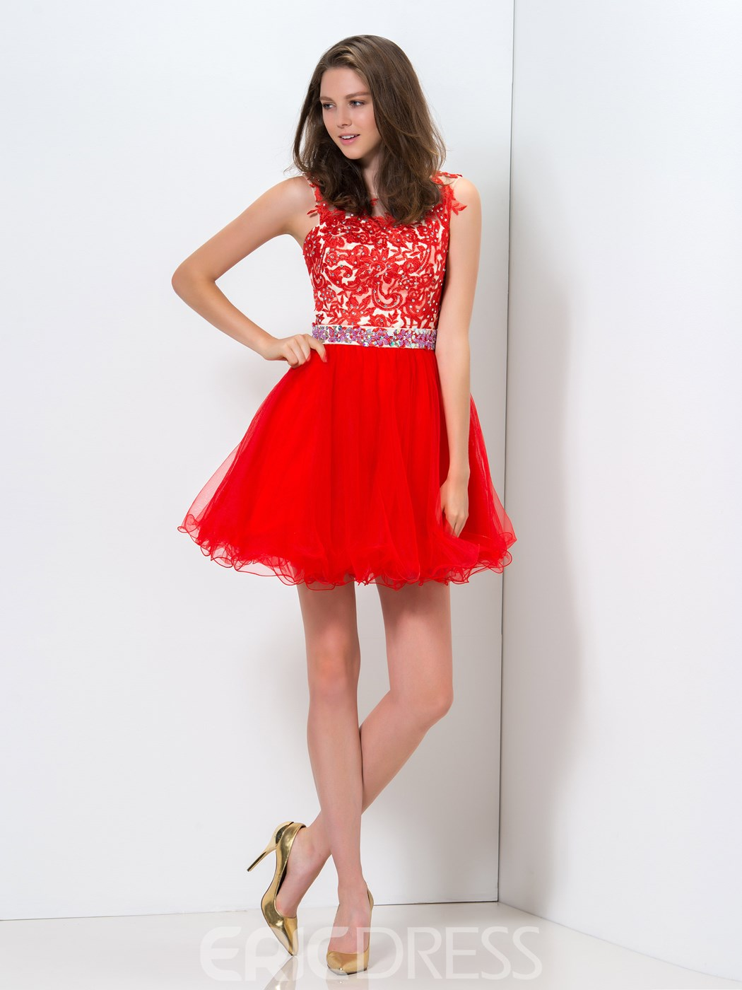 Ericdress Sheer Neck Appliques Sequins Beaded Homecoming Dress