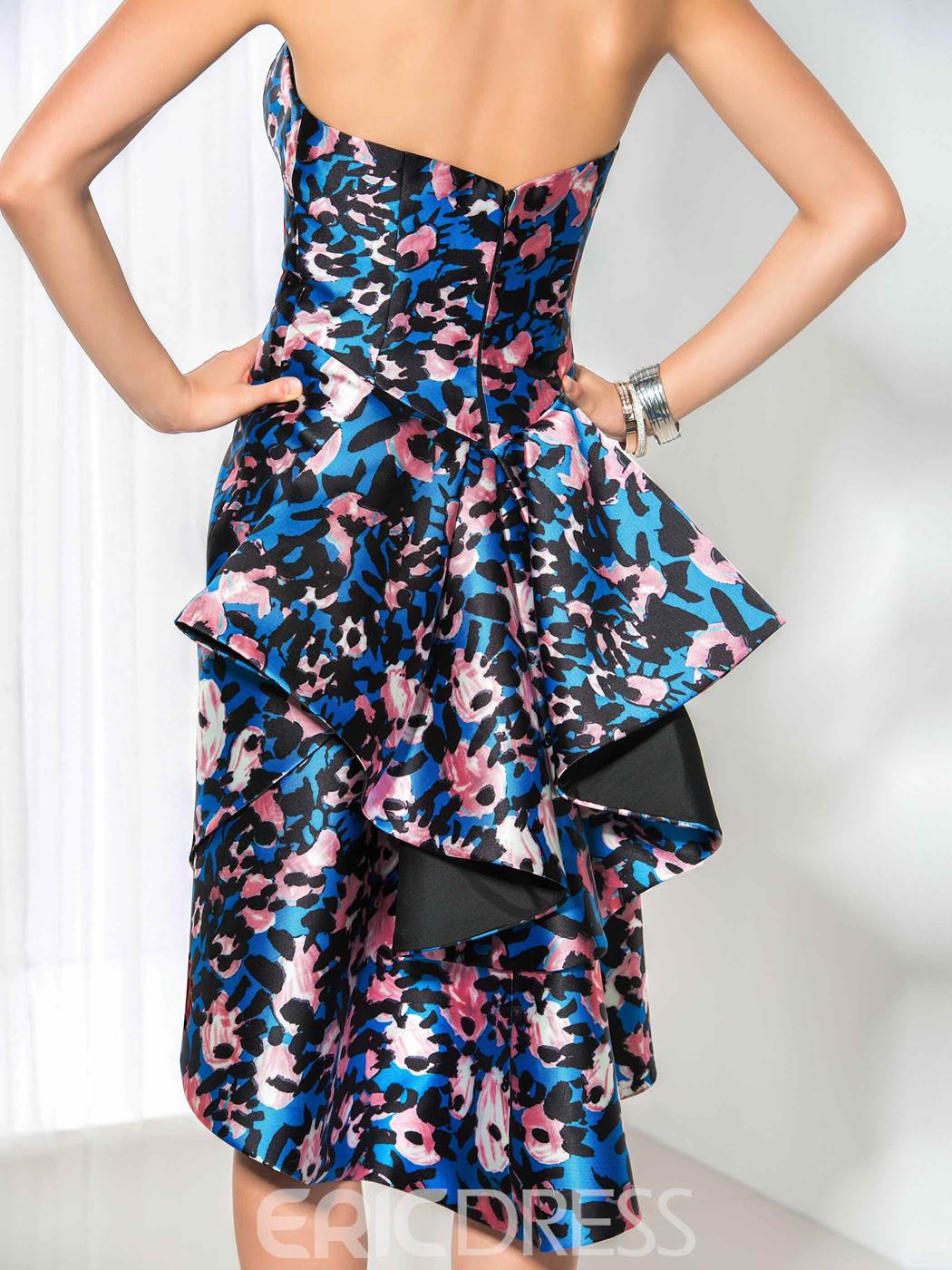 Ericdress Asymmetrical Length Print Cocktail Dress