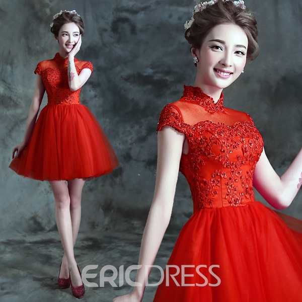 Ericdress Cap Sleeve High Neck Appliques Beading Homecoming Dress
