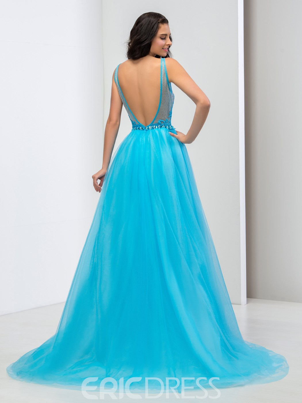 Ericdress A-Line Double Deep V-Neck Appliques Beaded Prom Dress