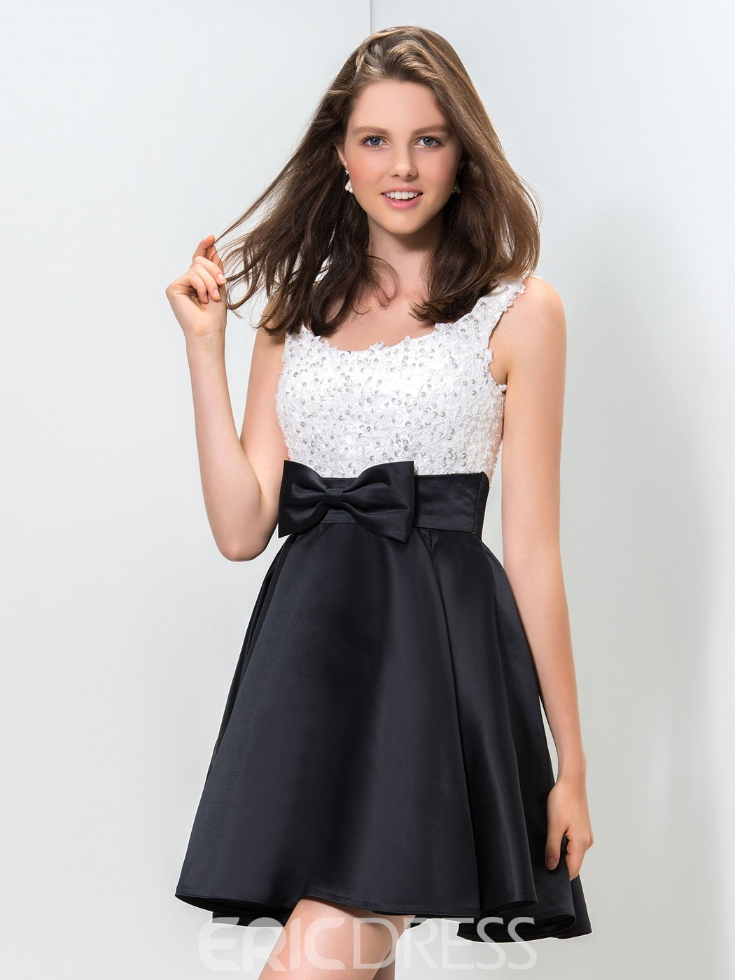 Ericdress A-Line Appliques Sequins Bokwnot Homecoming Dress