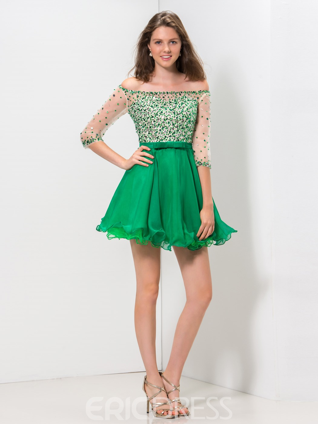 Ericdress A-Line Off-The-Shoulder Bowknot Sequins Homecoming Dress