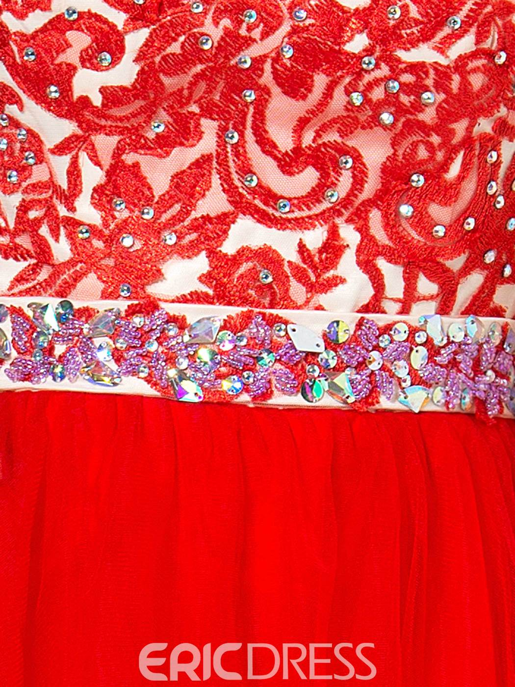 Ericdress Appliques Sequins Beaded Red Homecoming Dress