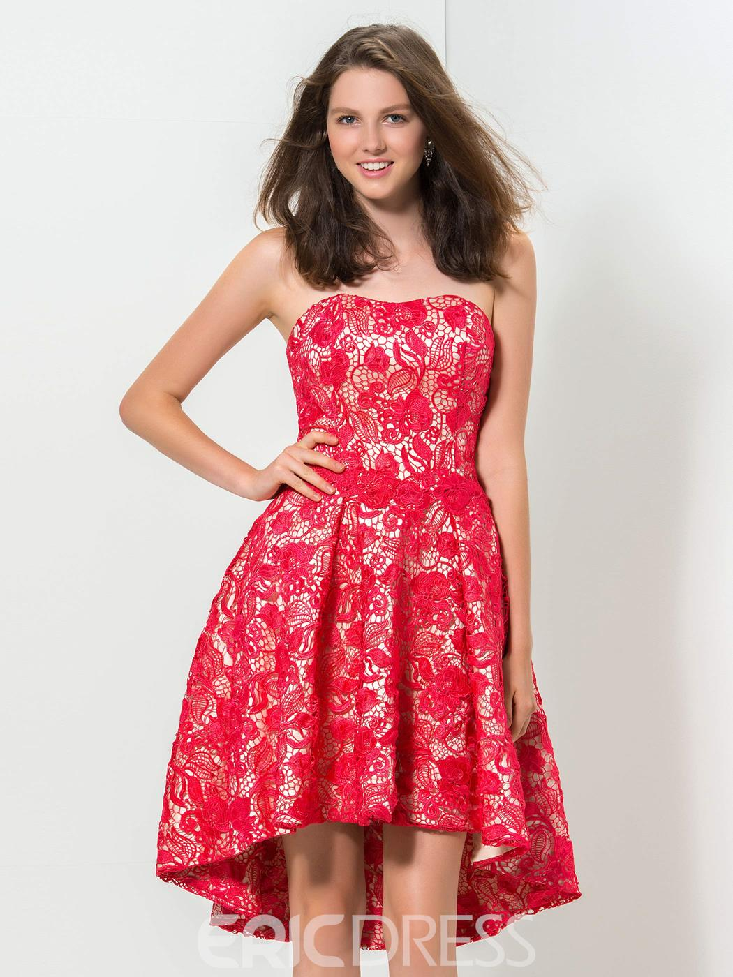 Ericdress Strapless Asymmetrical-Length Lace Homecoming Dress