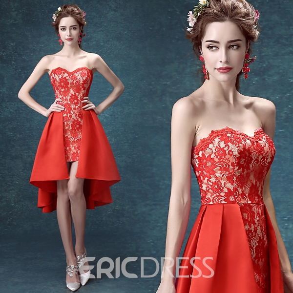 Ericdress Sweetheart Sheath Lace Asymmetric Homecoming Dress