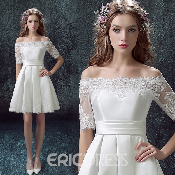 Ericdress Off-the-Shoulder A-Line Lace Short Sleeve Homecoming Dress