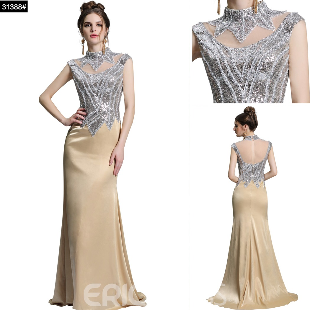 Ericdress High Neck Sequins Sheath Evening Dress