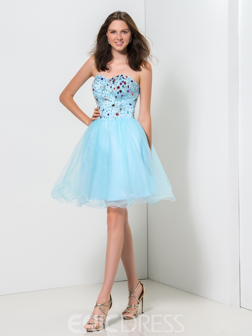 Ericdress Sweetheart Beaded Ruffles A-Line Homecoming Dress