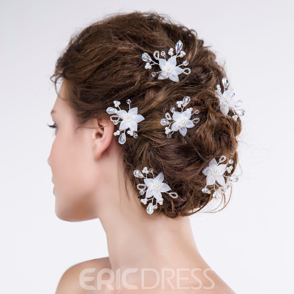 Ericdress Beautiful Flower Shaped Crystal Hair Flowers