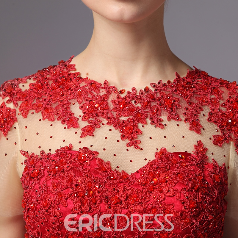 Ericdress A-Line Appliques Beaded Short Sleeve Cocktail Dress