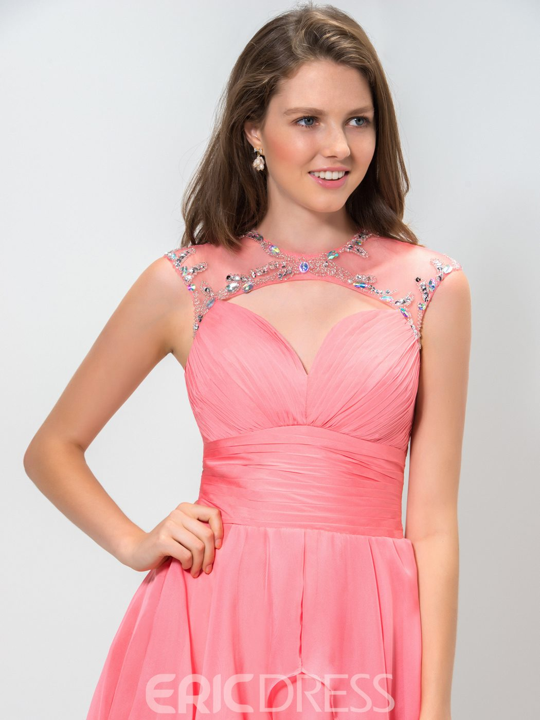 Ericdress Cowl Neck Hollow-Out Beaded Short Homecoming Dress