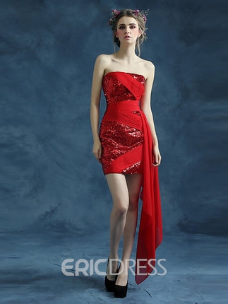 Ericdress Column Strapless Sequins Ruched Homecoming Dress