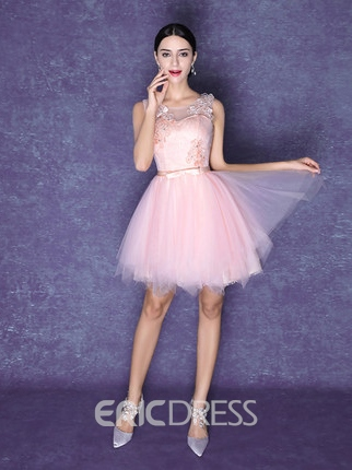 Ericdress A-Line Scoop Neck Flowers Beaded Lace-Up Homecoming Dress