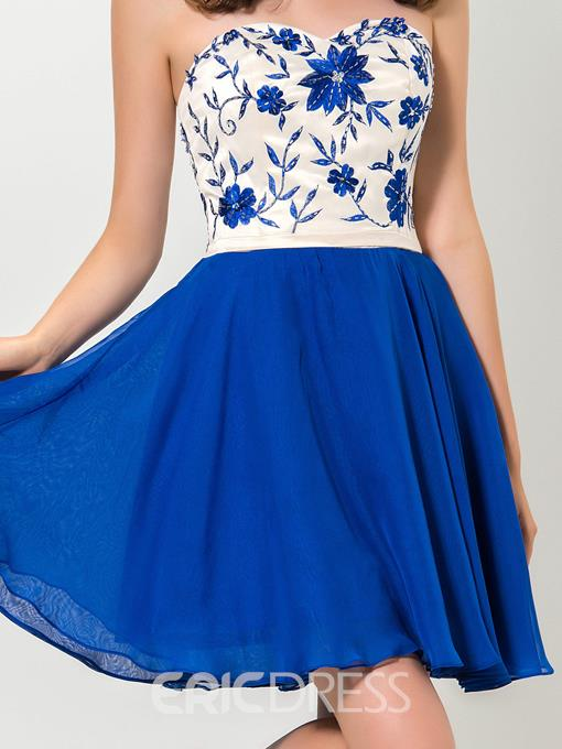Ericdress Embroidery Beading Dark Royal Blue Homecoming Dress