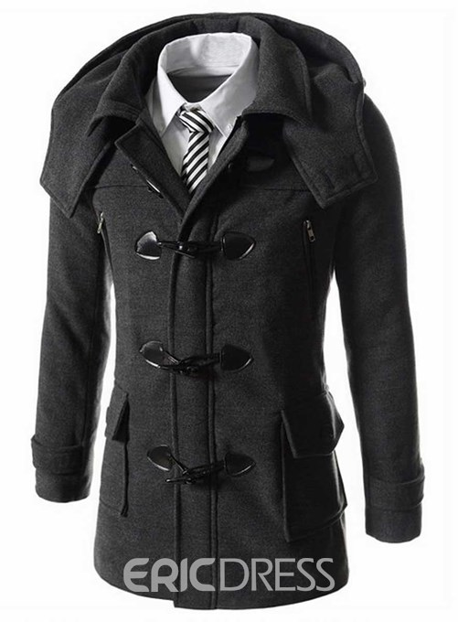 Ericdress Plain Horn Buttons Detachable Hat Casual Men's Wool Coat