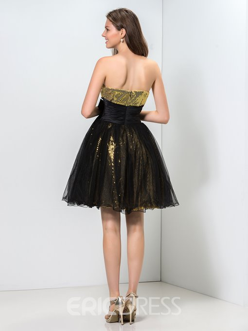 Ericdress A-Line Strapless Sequins Ruffles Short Homecoming Dress