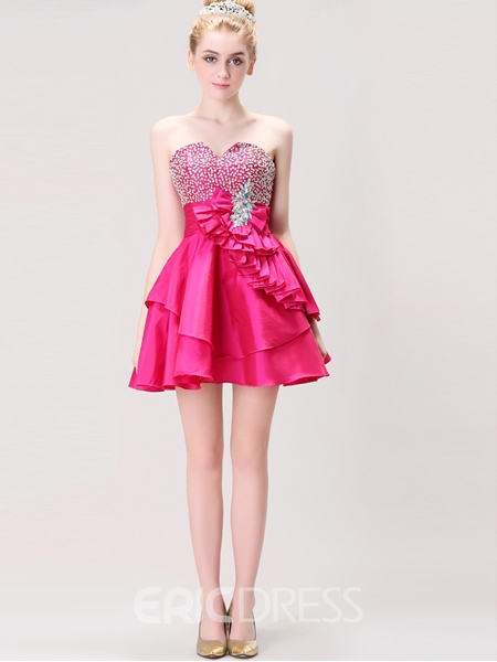 Ericdress A-Line Sweetheart Beaded Crystal Mini Homecoming Dress