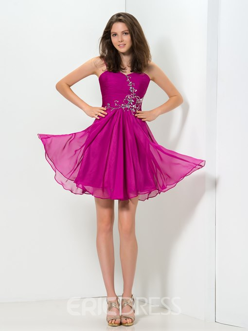 Ericdress A-Line Straps Ruffles Beaded Short Homecoming Dress