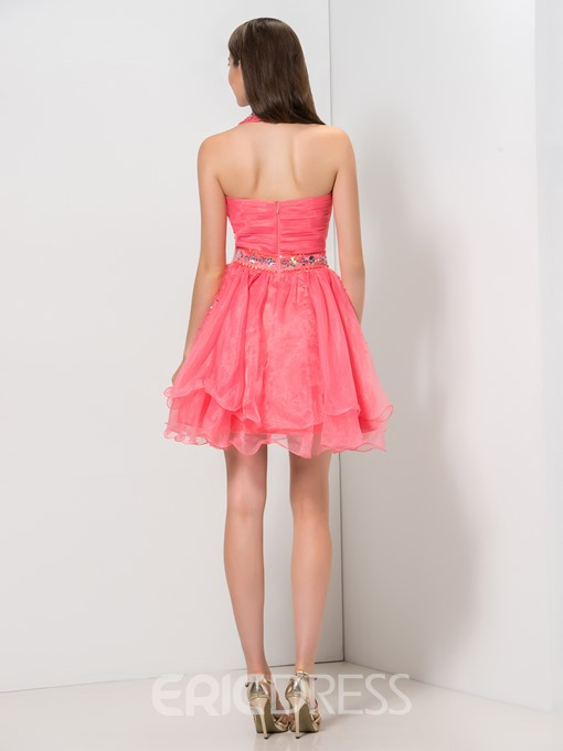 Ericdress Halter Cascading Ruffles Sequins Short Homecoming Dress