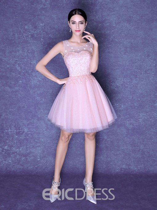 Ericdress A-Line Round Neck Flowers Pearls Short Homecoming Dress