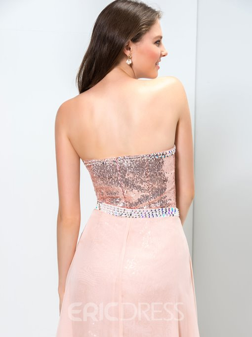 Ericdress Strapless Sequins Front-Split Homecoming Dress