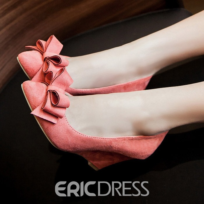 Ericdress Sweet Bowknot Suede Pointed-toe Wedges