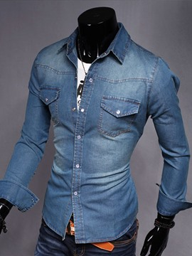 Ericdress Denim Long Sleeve Casual Men's Shirt
