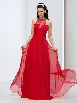 Ericdress A-Line Halter Sequins Beaded Long Prom Dress