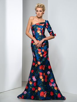 Ericdress One-Shoulder Floor-Print Trumpet Evening Dress