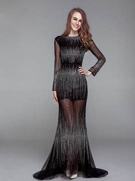 Ericdress Long Sleeve Sequins Sheath Evening Dress