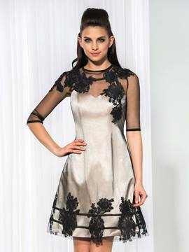 Ericdress Sheer Neck Half Sleeve Appliques Cocktail Dress